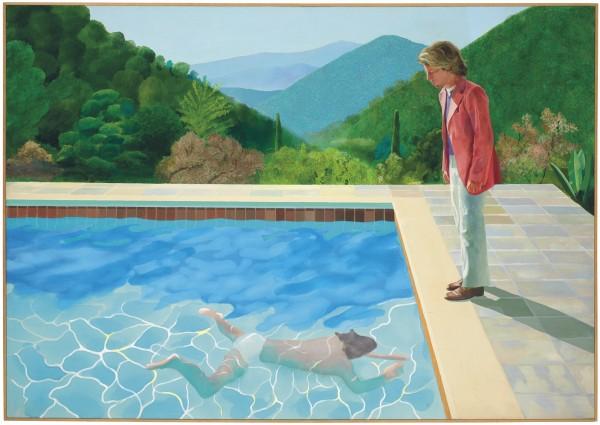 霍克尼的畫作《藝術家肖像畫:游泳池畔的兩個人》,估價約8千萬美元(約新台幣24.85億元)。(美聯社)