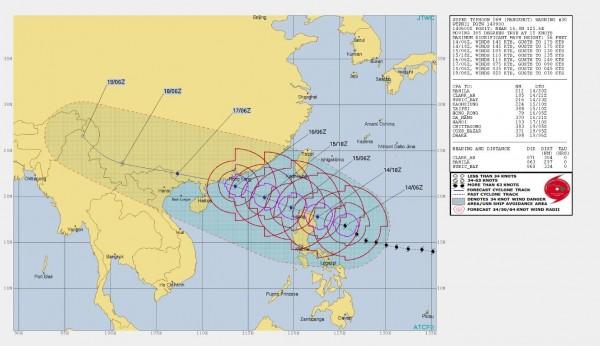 美軍聯合颱風警報中心推估台灣南部與東南部地區在15日與16日,有可能位於它的7級陣風範圍內。(圖擷取自JTWC)