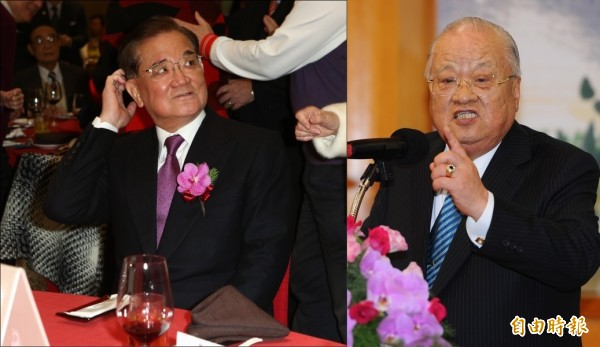 網友指出,國民黨執政期間派出連戰(左)、許水德(右)等人擔任外交官,才是「政治任命」。(本報合成)