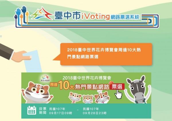 台中市觀旅局舉辦「2018台中世界花卉博覽會周邊10大熱門景點」網路票選活動。(台中市政府提供)