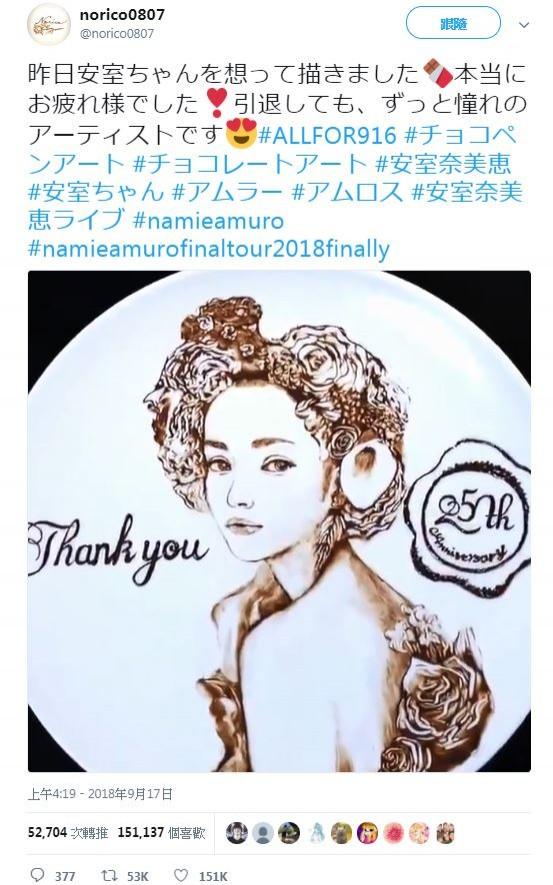 安室奈美惠9月16日正式引退後,隔日有日本網友貼出她用巧克力畫出安室的肖像,不僅讓網友吃驚,更有粉絲看完後,直呼「安室永遠在我心中」!(圖擷取自諾麗可推特)
