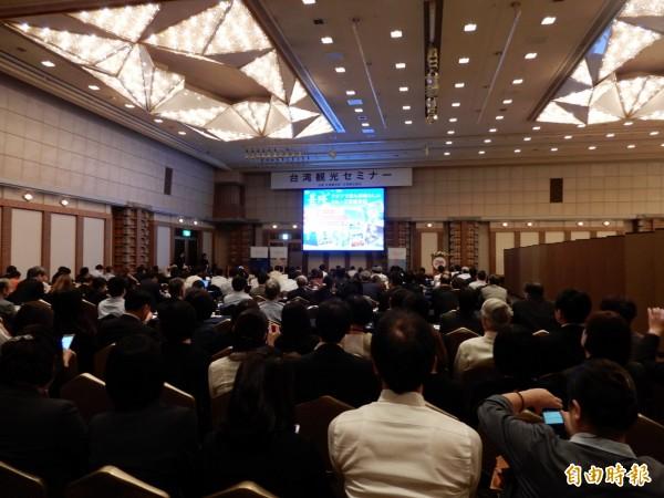 交通部觀光局與觀光協會在東京舉辦台灣觀光講座,吸引大批旅遊業者到場。(記者林翠儀攝)