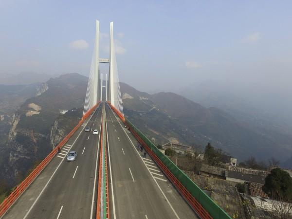 北盤江大橋位於雲南和貴州兩省交界處。(歐新社)