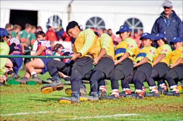 南非開普敦世界盃拔河錦標賽560公斤組,台灣師範大學、體大聯隊摘下首金。(景美女中提供)