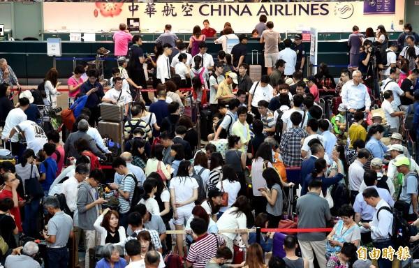 桃園機場統計,中秋連假疏運期間共計119架次加班機,預估旅運最高峰為明天22日,上看12.5萬人次。(資料照)