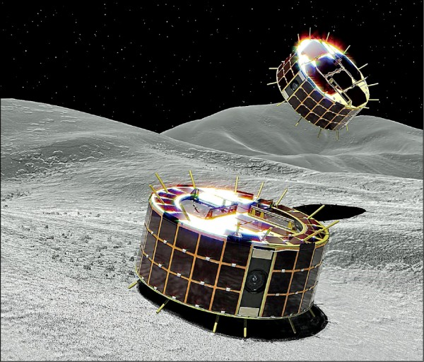 A、B兩機組成的探測機器人Minerva II-1。(想像圖,法新社)