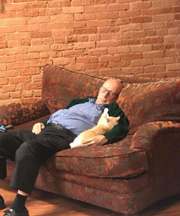 美國威斯康辛州75歲的貓咪收容所志工羅倫(Terry Laurmen),平常喜歡和貓貓一起打盹,療癒的照片讓網友們瘋狂捐款,2天內累積超過3萬美元(約新台幣92萬元)。(圖擷自Safe Haven Pet Sanctuary Inc.臉書)