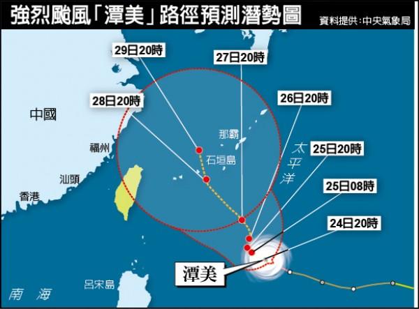 強烈颱風潭美路徑預測潛勢圖