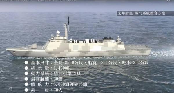 中科院今日揭露一支輕型巡防艦概念影片。(翻攝自中科院影片)