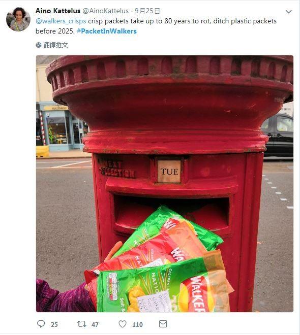 民眾響應環保活動,紛紛將吃完的洋芋片包裝郵寄回洋芋片公司。(圖擷自「#PacketInWalkers」推特)