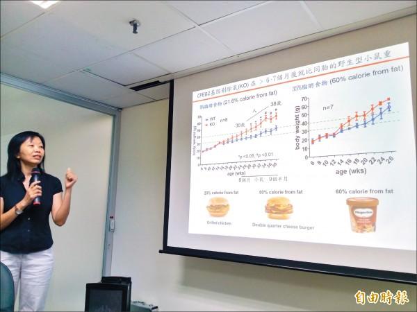 中研院生物醫學研究所副研究員黃怡萱指出,過度節食恐因無法刺激耗能機制,導致減重效果不彰。(記者吳亮儀攝)