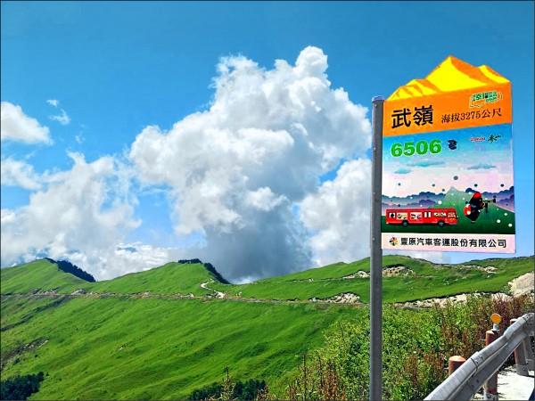 參山國家風景管理處在武嶺設置的幸福巴士特色站牌,上面標註有海拔3275公尺。(參山處提供)
