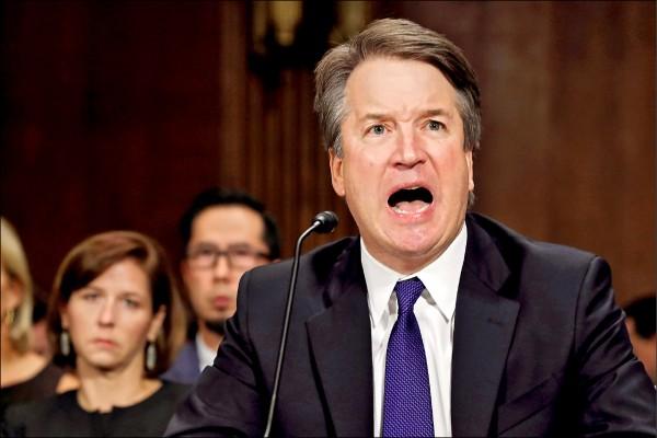 美國總統川普提名的聯邦最高法院大法官被提名人卡瓦諾,廿七日在參議院特別聽證會中捍衛自己清白。(路透)