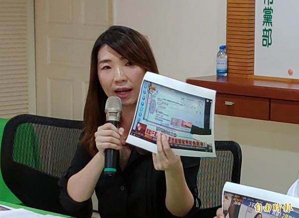民進黨台南市黨部執行長蔡麗青呼籲高思博勸告其家族,停漲台南天然氣及瓦斯價格。(資料照,記者蔡文居攝)