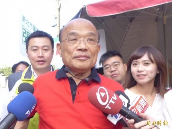民進黨新北市長參選人蘇貞昌。(記者李雅雯攝)