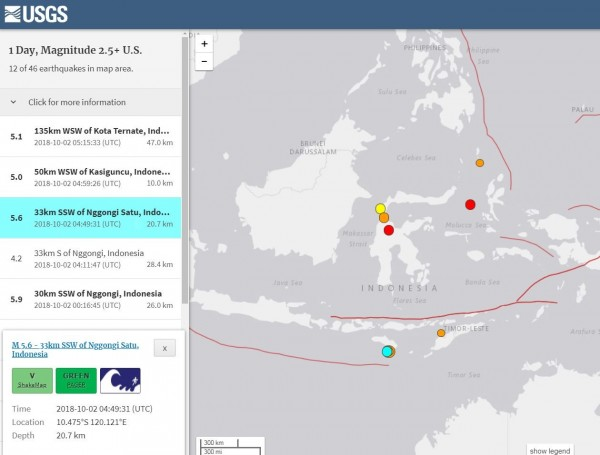 印尼於台灣時間今天下午1點前後又接連發生3起規模超過5.0的強震。(擷取自USGS)