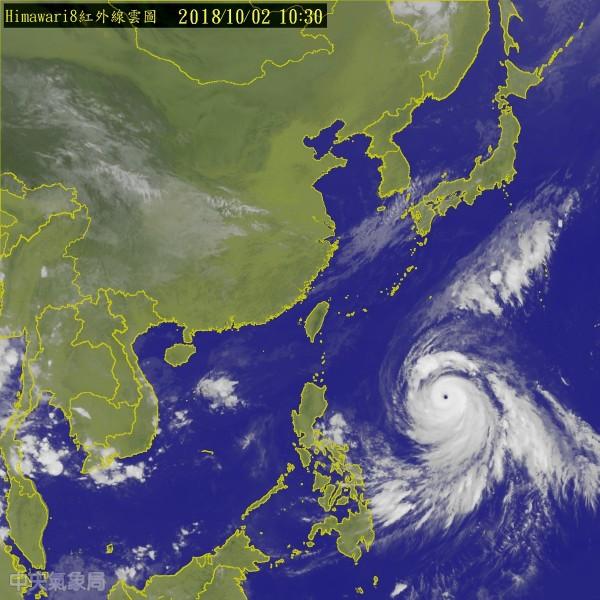 康芮颱風威力驚人,颱風眼在雲圖上清晰可見。(圖擷取自中央氣象局網站)