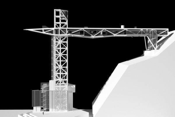 基隆舊二分局前將興建橋式起重機造型電梯(記者盧賢秀翻攝)