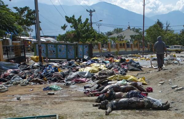 印尼強震海嘯罹難人數持續上修,目前已升至1407人,由於許多罹難者屍體仍未處理,已經開始發臭,恐爆發疫情。(法新社)
