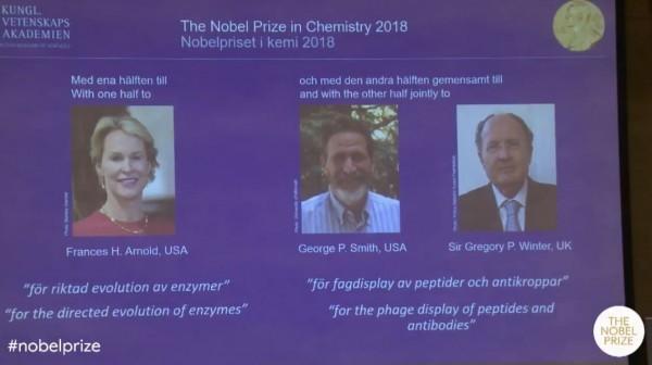 2018諾貝爾化學獎今(3)日揭曉,美國科學家弗朗西絲·阿諾德、美國科學家喬治.史密斯與英國科學家葛雷果立.溫特得獎。(圖擷取自諾貝爾官網)