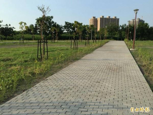 串連高雄都會公園與橋頭新市鎮的廊道已於近日完工。(記者黃佳琳攝)