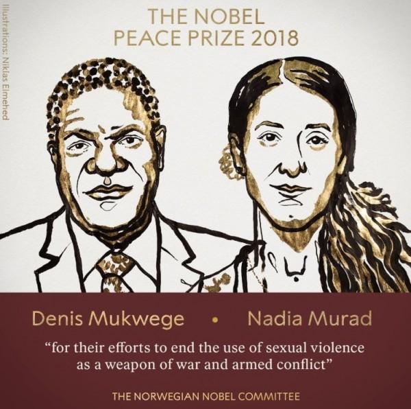 本屆諾貝爾和平獎由剛果婦科醫師德尼.慕克維格(Denis Mukwege)與曾淪為性奴的雅茲迪人權戰士納迪亞.穆拉德(Nadia Murad)獲獎。(圖擷取自諾貝爾獎推特)