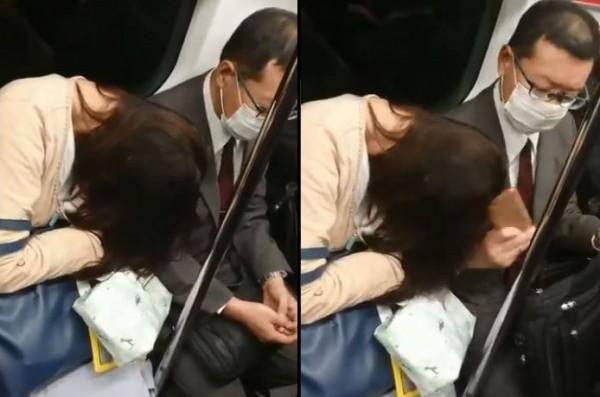 女子睡著靠在隔壁眼鏡男的肩膀,沒想到眼鏡男竟拿出手機往女子的頭給敲了下去。(圖擷取自@SakuradaPC推特)