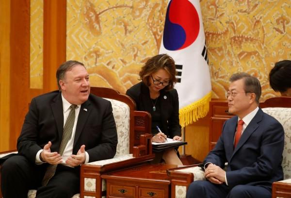 龐皮歐傍晚拜會文在寅時說,他與北韓領導人金正恩已商定盡早舉行第2次美國北韓高峰會。(法新社)