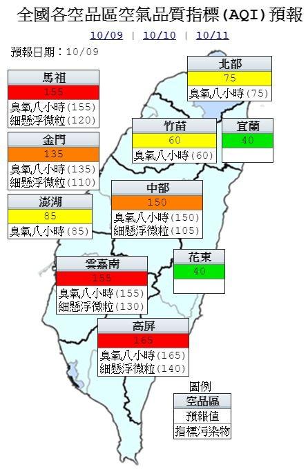 雲嘉南、高屏空品區以及馬祖地區為「紅色警示」等級;中部空品區以及金門為「橘色提醒」等級;北部、竹苗及澎湖空品區為「普通」等級;宜蘭及花東空品區為「良好」等級。(圖擷取自中央氣象局)