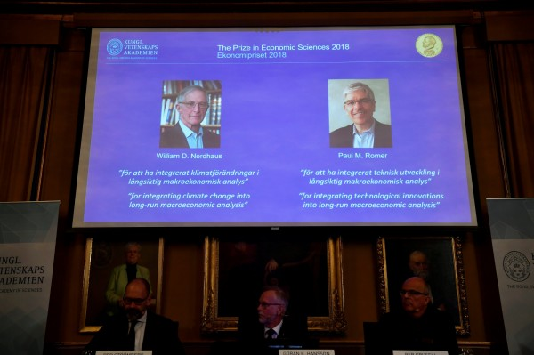 2018年諾貝爾獎季最後一項獎─經濟學獎,台灣時間8日下午近6時在瑞典揭曉,獎落美國經濟學家威廉·諾德豪斯(William Nordhaus)和保羅·羅默(Paul Romer)。(路透)