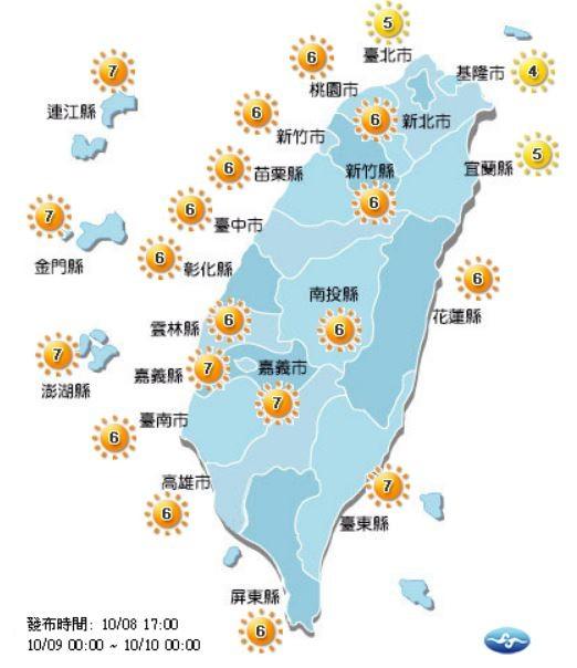 紫外線方面,有3個縣市紫外線指數達中量級、19個縣市達高量級。(圖擷取自中央氣象局)