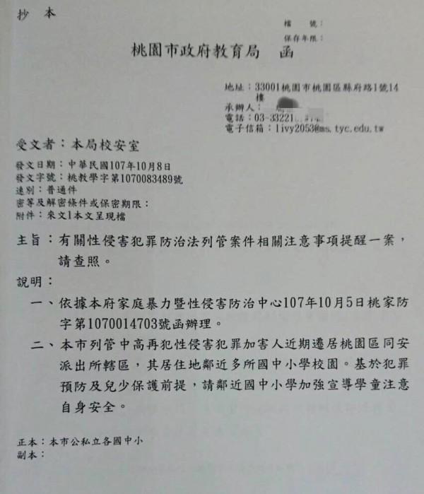 桃園市政府一紙提醒公文外流,引發不少市民恐慌。(記者陳昀翻攝)