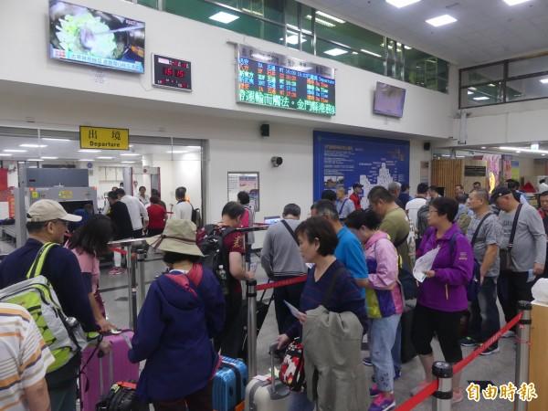 金門小三通人數正成長,今年中國「十一長假」就有4萬7000多人循此管道進出中國。(記者吳正庭攝)