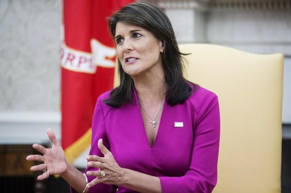 海莉也批評聯合國人權理事會「自廢武功」。(彭博社)