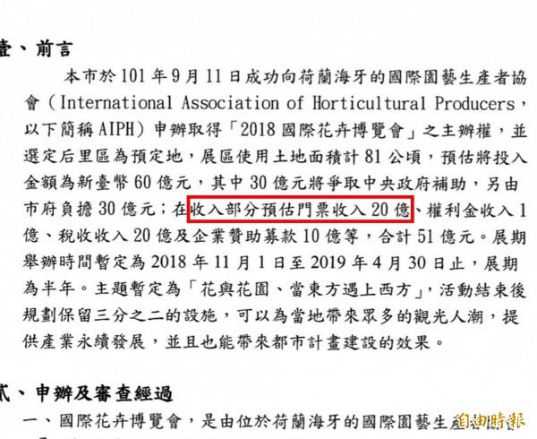 市府在花博專案報告中,白紙黑字載明「預估門票收入20億」(紅色框內)。(記者黃鐘山攝)