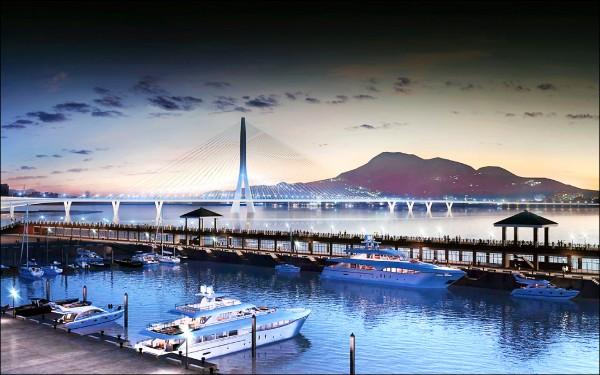 淡江大橋單塔斜張橋的設計與淡水夕照景觀融合,單塔就像一雙合十祈福的大手,意喻為台灣祈福。(公路總局提供)