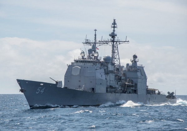 不少日本網友稱美艦航台海應「多多益善」,更有人認為「所有與中國對抗的國家都該經過」。圖為提康德羅加級飛彈巡洋艦「安提坦號」(USS Antietam USS CG 54)(見圖)22日通過台灣海峽。(美聯社資料照)