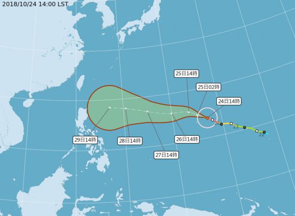 氣象局表示,玉兔颱風未來路徑將受太平洋高壓影響,若未來幾天高壓強,將持續朝西到西北方向移動,往菲律賓前進,且靠近台灣。(中央氣象局)