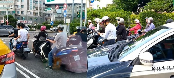 雙載機車屁孩以為沒人看見沒戴安全帽的違規行為,但其實警車就在後方全程錄影。(圖擷取自爆料公社)