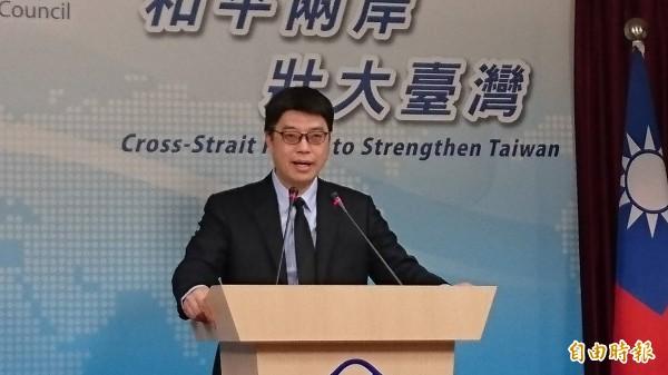 面對中國威脅,陸委會回應未放棄武力才是衝突來源。圖為陸委會發言人邱垂正。(資料照)