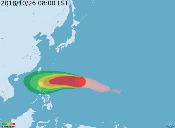 玉兔颱風外圍環流下週三起影響台灣。(翻攝自中央氣象局)
