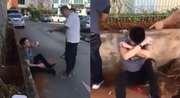 馬來西亞1名岳父不滿女婿對女兒拳腳相向,將其約出後在大街上把他打得鼻青臉腫。(圖擷取自爆笑公社)