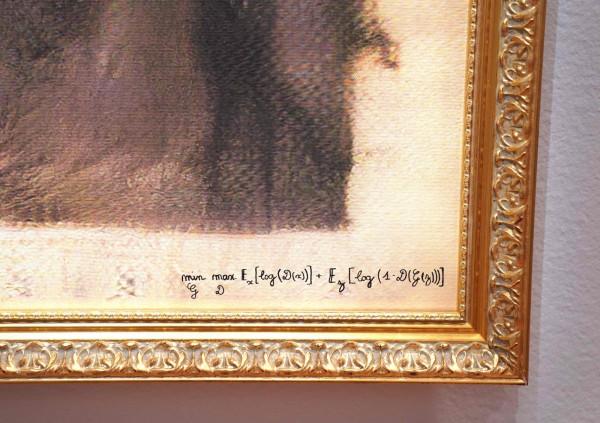 畫作右下角為法國藝術組合「Obvious」開發出的AI技術畫時,所使用的公式。(法新社)