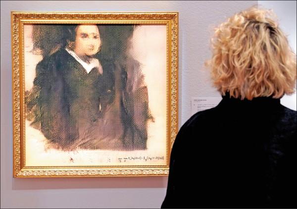 由法國巴黎藝術組織Obvious透過人工智慧製作的「艾德蒙.貝拉米肖像畫」。(法新社)