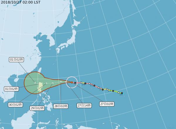 颱風路徑潛勢圖。(圖翻攝自氣象局)