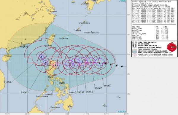美軍聯合颱風警報中心推估未來玉兔颱風的路徑。(圖擷取自JTWC)