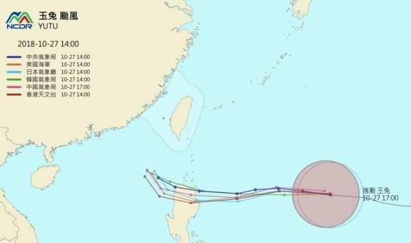各國最新預測路徑顯示,玉兔颱風將侵襲菲律賓北部。(圖擷取自NCDR)