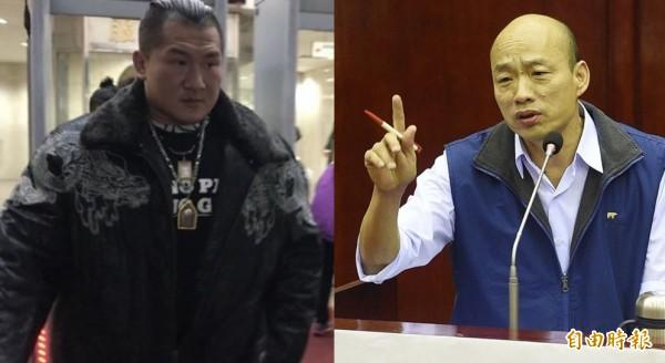 陳之漢(左)昨日在臉書上揚言要揍韓國瑜(右),獲得韓本人回應。(資料照,合成照)
