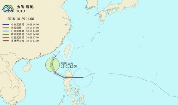 各國最新預測路徑顯示,玉兔颱風將於週二(30日)侵襲菲律賓北部,週三(31)進入南海後往北移動,未來將往台灣海峽方向移動。(圖擷取自NCDR)