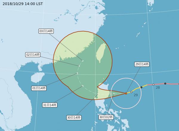 中央氣象局表示,本週三至週六(31日至11月3日)受玉兔颱風外圍環流及東北季風雙重影響下,台灣北部、東半部有局部大雨或豪雨發生機率。(圖擷取自中央氣象局)